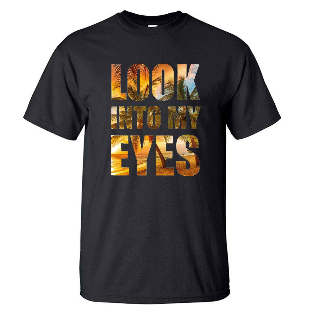 Look Into My Eyes Tshirt Men Black Music Tshirt Summer Cotton Short Sleeve Rock Kpop Workout Loose Hip Hop T-Shirt Tees Tops image