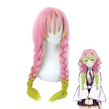Anime Demon Slayer Kanroji Mitsuri Wigs Kimetsu No Yaiba Women Cosplay Wig Green Pink Colorful Haired Braids Hair + Free Wig Cap(China)