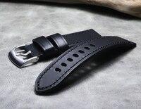 Męskie ręcznie robione 23mm czarne AT8020 54LJY8031 56L AT9037 pasek ze skóry naturalnej z srebrna klamra + wyślij narzędzie w Paski do zegarków od Zegarki na