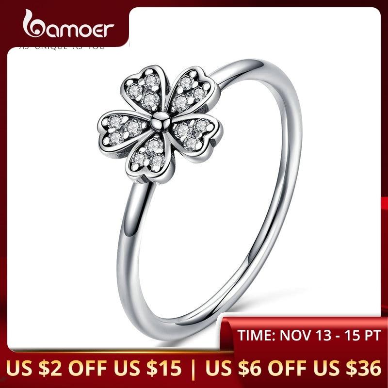 BAMOER Two Colors Fashion Elegant Original 925 Sterling Silver Dazzling Daisy Flower Ring Clear CZ Wedding Jewelry SCR398