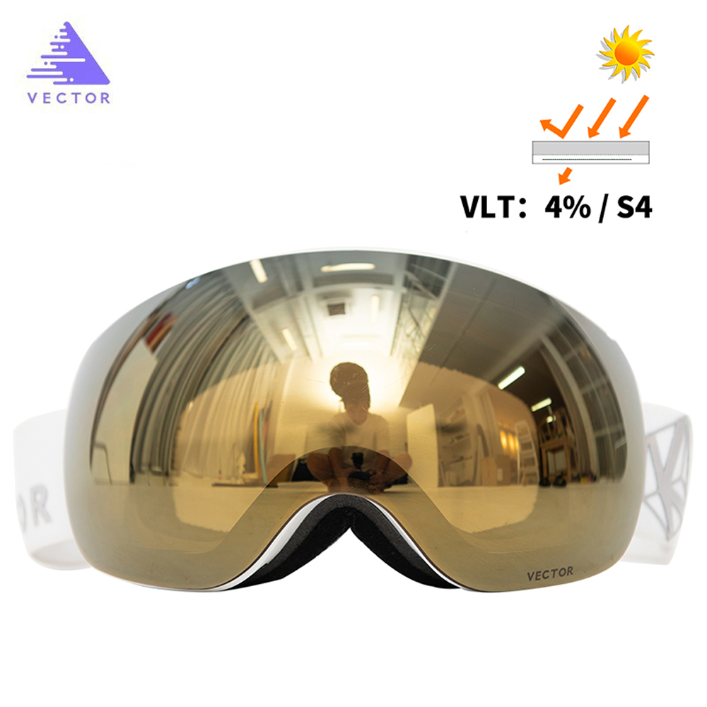Vector Magnets OTG Ski Goggles UV400 Snowboard Snow Glasses Anti-fog Interchangeable In Lens And Spherical Wide View Sunglasses