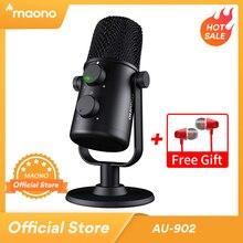 ماونو AU 902 USB مكثف ميكروفون القلب المشتعلة mikrofon بودكاست استوديو هيئة التصنيع العسكري تسجيل المعادن ميكروفون ليوتيوب سكايب