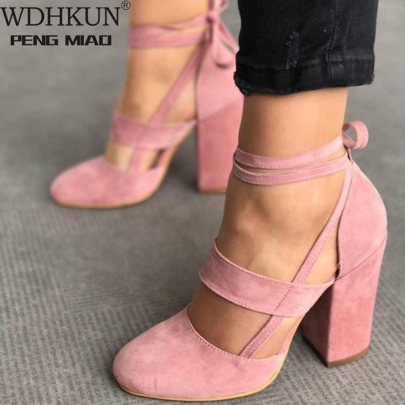 Women Pumps Plus Size 35-43 Women Heels Chaussures Femme Gladiator Summer High Heels For Party Wedding Shoes Women Thick Heels
