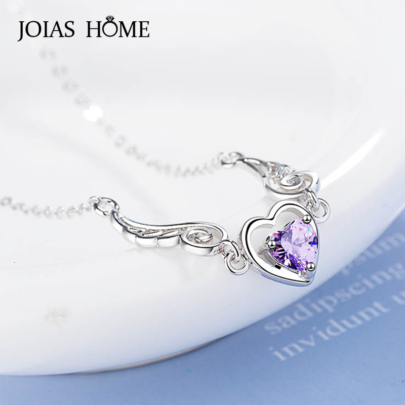 JoiasHome Trendy S925 Silver Jewelry Heart-shaped Amethyst Gemstones Pendants Necklace for Women Wedding Engagement Party Gifts