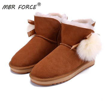MBR FORCE 2020 Australia Sheepskin Suede genuine Leather Shearling Lined Women Short Winter Boots Style Ankle Snow Boots Shoes mbr force classic knee high sheepskin suede leather wool fur shearling lined winter boots for women snow boots shoes size 34 44
