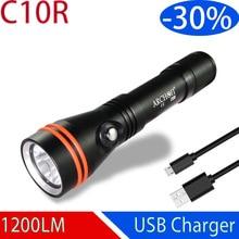 ARCHON C10R lampe de poche de plongée USB charge torche de plongée 1200 lumen CREE puce LED lumière sous marine 100m lumière de plongée intégré 18650