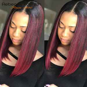 Wigs Hair Lace-Part Burgundy Rebecca Remy Ombre Women Peruvian Straight for Middle-Length