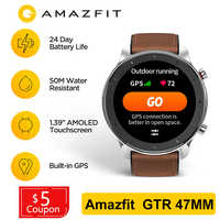 Global Version Amazfit GTR 47mm Huami GPS SmartWatch Men 5ATM Waterproof Smartwatch 24 Days Battery AMOLED Screen MusicControl