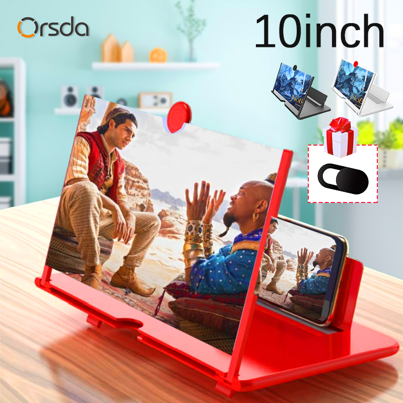 10 Inch 3D Mobile Phone Screen Magnifier HD Video Amplifier Stand Bracket with Movie Game Magnifying Folding Phone Desk Holder