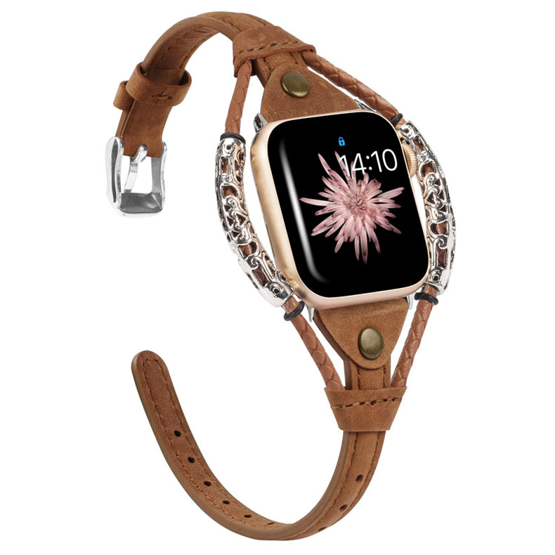 Genuine Leather strap for apple watch 5/4/3/2/1 band 38mm 40mm 42mm 44mm metal bracelet watchband for iwatch Accessories