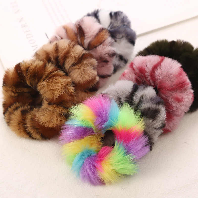New Fashion Colorful Leopard Print Plush Fur Scrunchies Elastic Hair Bands For Girls  Warm Ponytail Holder For Girl Women Hot Sa