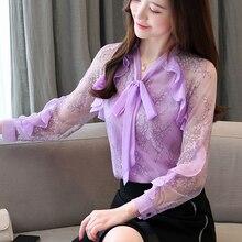 Fashion Autumn Women Blouses Elegant Chiffon Shirt Korean Woman Lace Print Blouse OL Plus Size Shirts