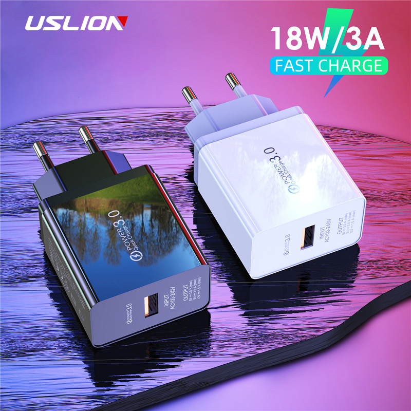USLION 18W 3A USB Quick Charge EU Fast Charger Plug Travel Wall Charger Adapter For iPhone iPad Samsung Xiaomi Phone Charger(China)