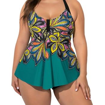 5XL Plus Size Women's Swimsuit Summer Swimwear 2020 Large size Tankini Set Spa Set Female Hot spring Clothing Beach Wear Q30 plus size backless tiered tankini set