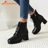女性用の厚手のヒールアンクルブーツ,靴ひも付きのファッショナブルなカジュアルシューズ,丸いつま先,オフィス用,大きいサイズ,35-43