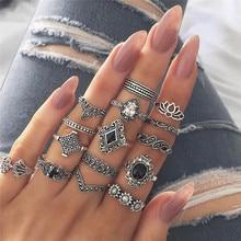 15pcs/set Bohemian Hollow Lotus Gem Silver Ring Set  Women Wedding Anniversary kunckle finger Ring  Gift bohemian leaves circle finger ring