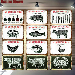 BUTCHER'S GUIDE Vintage Metal Signs Cut Beef Cow Chicken Pork Duck Poster Kitchen Decorative Plates Plaque Wall Stickers N286(China)