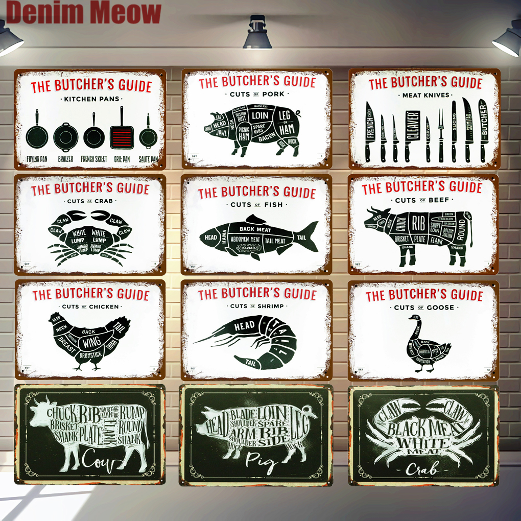 BUTCHER'S GUIDE Vintage Metal Signs Cut Beef Cow Chicken Pork Duck Poster Kitchen Decorative Plates Plaque Wall Stickers N286