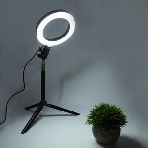 Image 4 - 6 بوصة USB Selfie مصباح مصمم على شكل حلقة LED ملء ضوء هاتف مزود بكاميرا تصوير فيديو ماكياج مصباح مع ترايبود سطح المكتب ومجموعة Selfie عصا