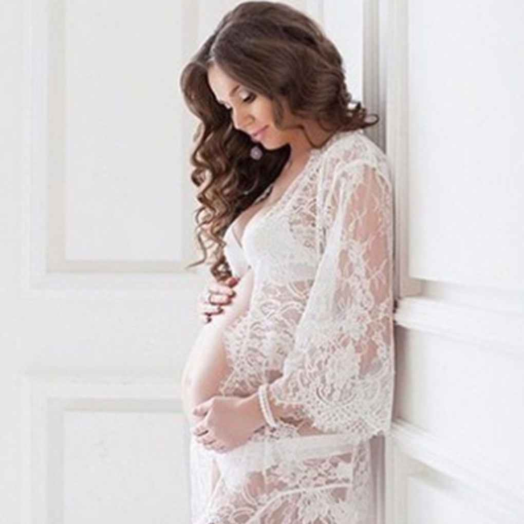 Hot Sale Woman Girl Lace Sexy V-Neck Photography Gravida Mom Pregnant Maternity Dress Skirt Robe Clothes