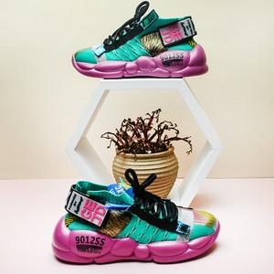 Image 5 - Fujin Womens Sneaker Knitting Breathable Shoe Chunky Platform Sneakers Soft 2020 Spring Summer Sock Women Vulcanized Shoes