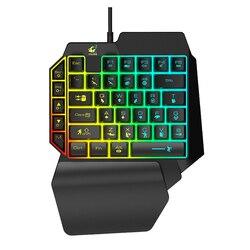 Jedną ręką mechaniczna klawiatura do gier z podświetleniem LED 39-klucz Plug and Play Mini klawiatura do gier dla PUBG klawiatura