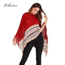 Echoine Women Warm Knit Tassel Cloak Shawl Sweater Batwing Sleeve Stripe Patchwork Multicolor Colorblock Outwear Pullover Outfit
