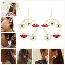 BOAKO Big Red Heart Earrings Women Street Style Lip Evil Eye Stud Girl Enemal Earring Bohemia Party Trendy aretes K5