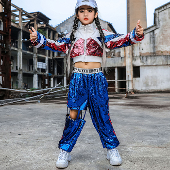 New Girls' Hip Hop Kids Jazz Performance Clothes For Girls Sequins Costume Navel Tops Loose Hiphop Pants Show Clothing 120-170