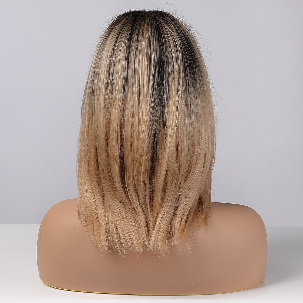 EASIHAIR Brown Blonde Ombre Wigs for Women Synthetic Hair Wigs Natural Layered Wigs with Side Bangs
