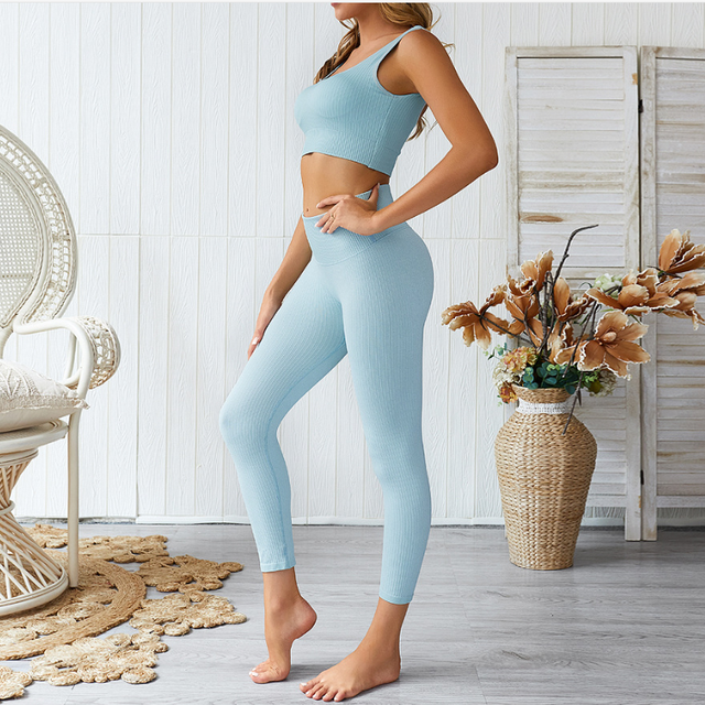 2 piece outfit fitness & Yoga Clothing workout athletic apparel gym sports wear Ribbed seamless leggings and bra set