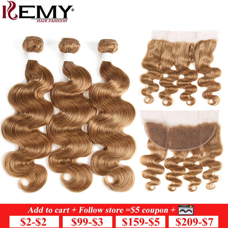 Light Brown 27# Brazilian Body Wave Human Hair Bundles With Frontal 13*4 KEMY HAIR 100% Non-Remy Human Hair Weaves Bundle 3/4PCS
