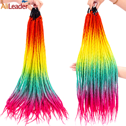 Alileader Ponytail Hairpiece Box Crochet Braided Hair Extension With Rubber Band Hair Ring Ombre Rainbow Synthetic Hair Ponytail