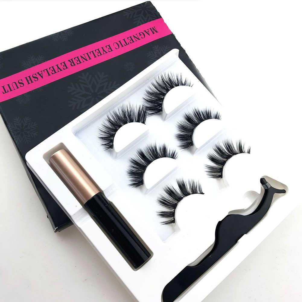 Magnetic 3D Fase Bulu Mata Bulu Mata Palsu Eyeliner Cair Pinset Bulu Mata Ekstensi Riasan Alat Set Riasan Mata