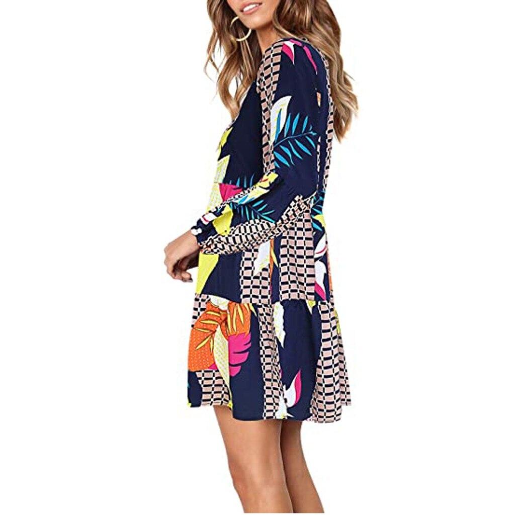 Women Summer Tunic Dress V Neck Casual Loose Flowy Swing Shift Dresses 3