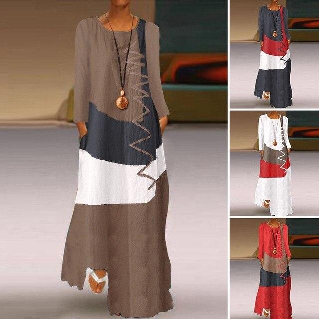 женское длинное платье осеннее повседневное модное лоскутное фотография