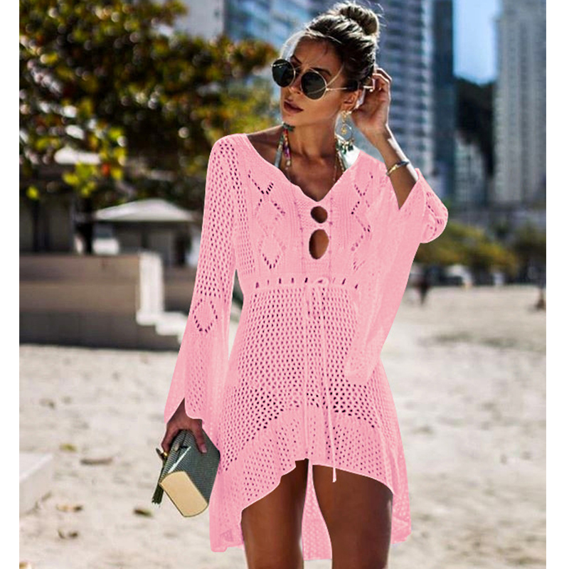 New Knitted Beach Cover Up Women Bikini Swimsuit Cover Up Hollow Out Beach Dress Tassel Tunics Bathing Suits Cover-Ups Beachwear 43