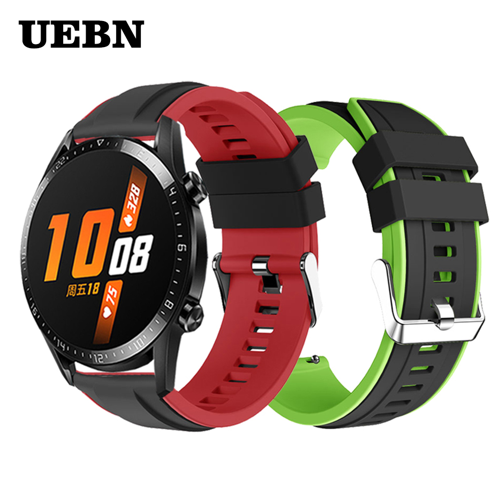 UEBN 22mm Silicone Wristband Strap for HUAWEI WATCH GT 2 46mm/GT Active 46mm HONOR Magic Band Bracelet GT2 Smartwatch Watchband