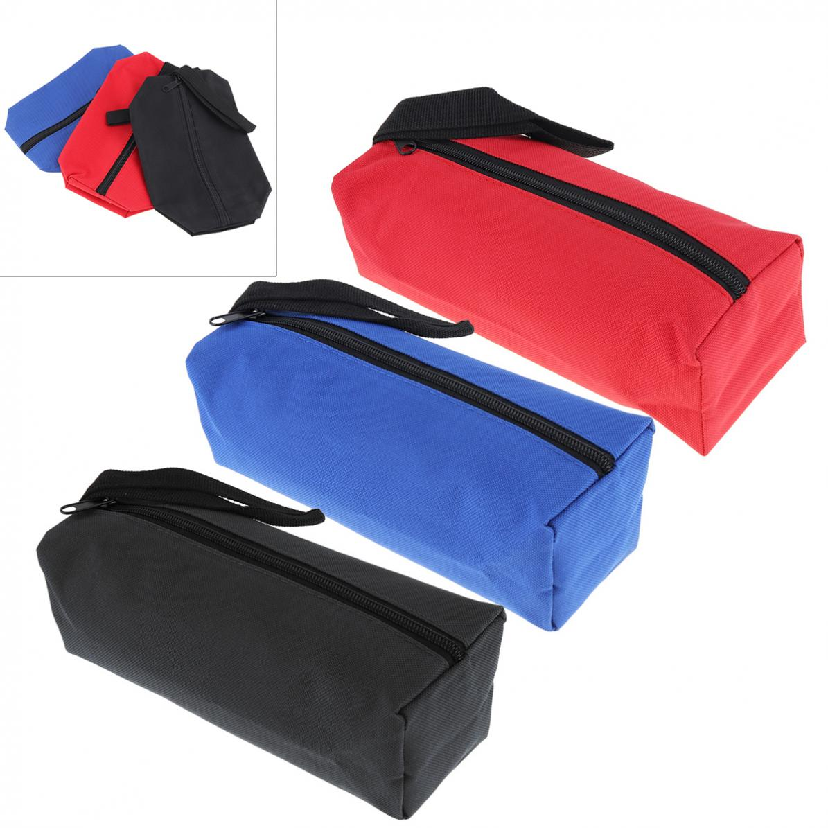 600D Multifunctional Canvas Tool Bag Oxford Cloth Parts Bag With Zipper For Maintenance Tool Storage Black / Red / Blue