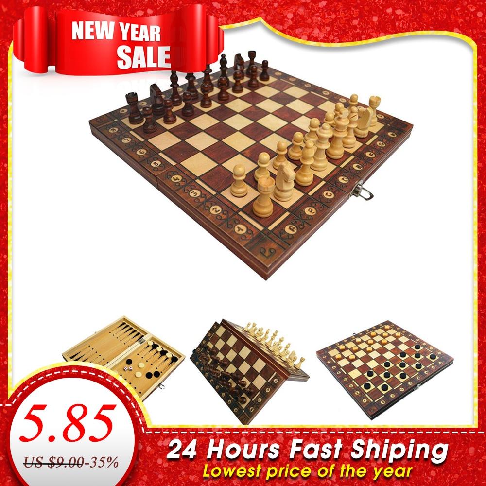 Super magnétique en bois échecs Backgammon dames 3 en 1 jeu d'échecs antique échecs voyage jeu d'échecs en bois pièce d'échecs échiquier