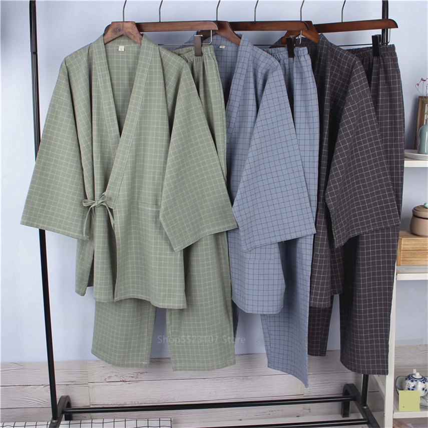 Japanese Style Pajamas Cotton Linen Stripe Bathrobe Homewear Sleep Yukata For Adult Summer Thin Robe Clothing Pant Set