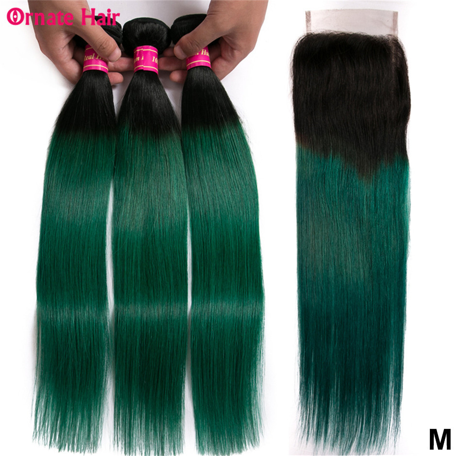 Ombre Colored Human Hair Bundles With Closure Brazilian Straight Hair Bundles With Closure Non-Remy T1b/green/blue Middle Ratio