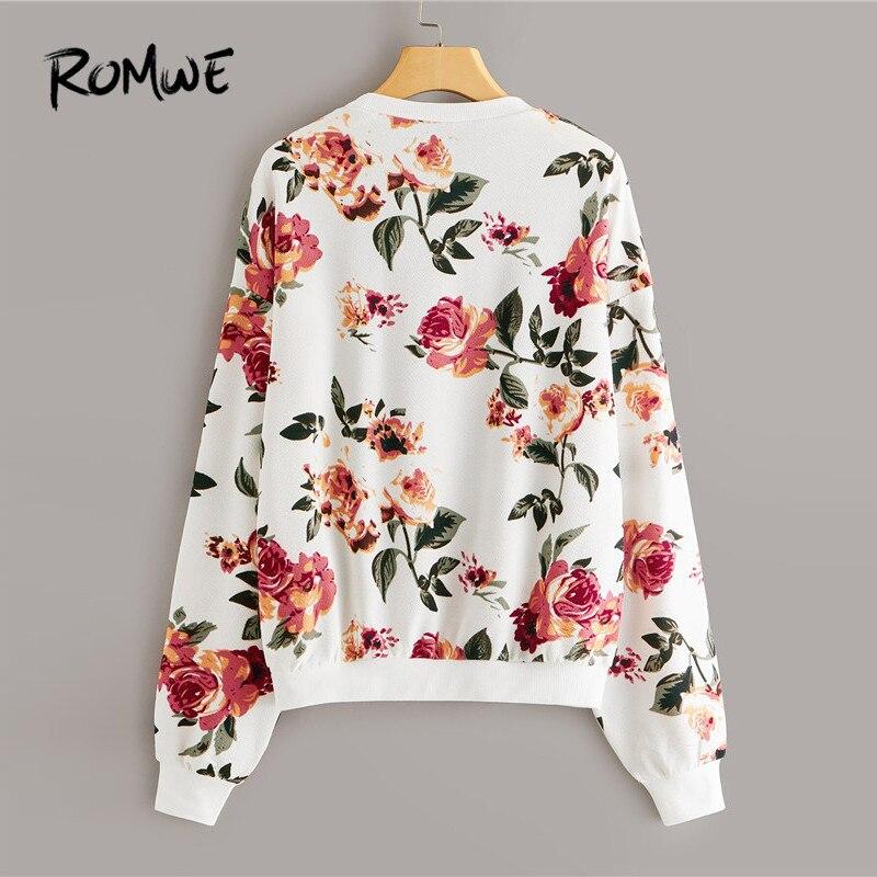 ROMWE Женская толстовка с открытыми плечами и цветочным принтом, повседневный пуловер с круглым вырезом, толстовка с капюшоном, осенняя одежда 2019, женские топы с длинным рукавом