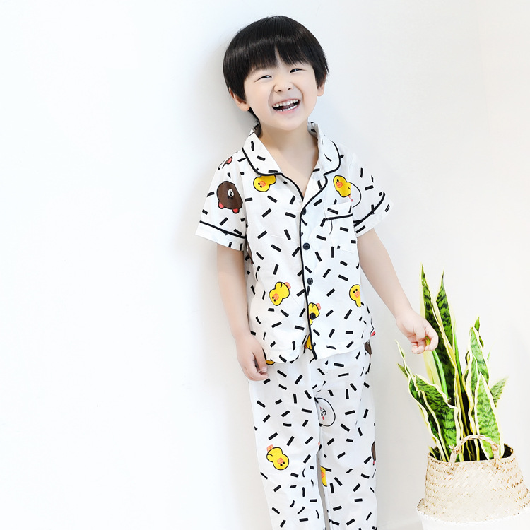 Mj Tong Products South Korea Childrenswear Children Pure Cotton Tracksuit Piece Cartoon Men And Women Child Air Conditioning Clo