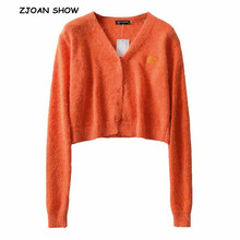 2019 Autumn Stylish Knitting Single Breasted Cardigan Shaggy Sweater Woman V neck Long Sleeve Jumper kleding jerseis 8 Colors