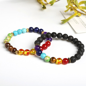 Image 2 - JD Fashion 7 Chakra Bracelet Men Black Lava Healing Balance Beads Reiki Buddha Prayer Natural Stone Yoga Bracelet Women Jewelry