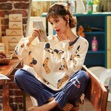Pijamas primavera outono de manga comprida algodão 2020 novas mulheres pijamas terno em torno do pescoço senhoras calças plus size casa lounge wear
