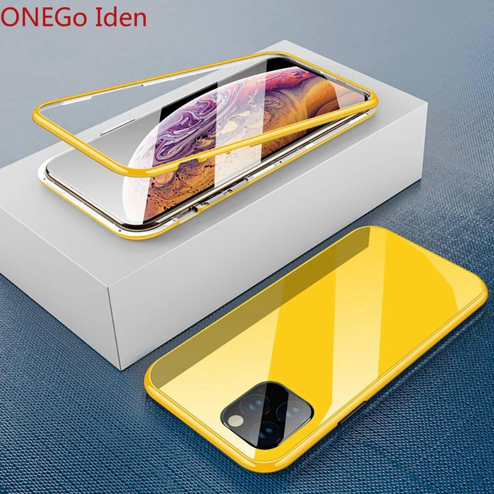 Caso magnético para o iphone x 7 8 7plus 8 mais 11 pro max xr xs max 11 xs caso hd vidro temperado ímã caso do telefone capa para computador
