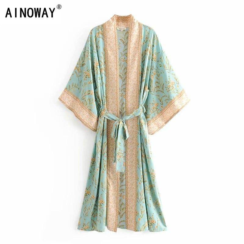 Vintage chic women green floral print bat sleeve rayon beach Bohemian robe kimono Ladies V neck  sashes  Boho dress vestidosDresses   -