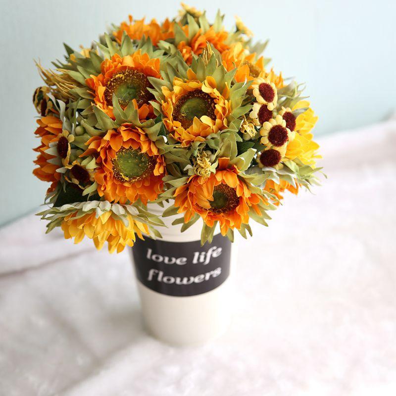 Осеннее украшение, 5 цветов, желтый подсолнух, шелковые искусственные цветы, букет для украшения дома, офиса, вечеринки, сада, Декор